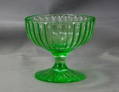Sherbet RIBBON Hazel Atlas Green Depression Glass