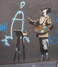 Banksy graffiti. Painter - Banksy is overtly mocking fine art and painting. Banksy street art.