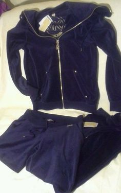 MICHAEL KORS Velour Yoga Tracksuit Sweat Lounge Pants Jacket Sz S NAVY Blue $179 #MichaelKors #Tracksuit #SweatSuit #Velour