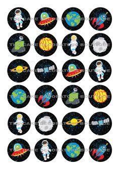 24 Astronaut Weltraum Waffel / Reispapier Cupcake Topper Essbar Fee Kuchen