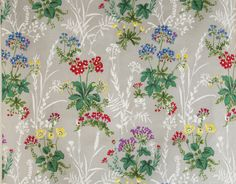 vintage 1950s pure cotton slub primulas floral print interiors fabric | eBay
