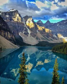 Situated in the Valley of Ten Peaks Moraine Lake is a glacially-fed lake in Banff National Park just outside the Village of Lake Louise Alberta Canada. The silt in the lake makes for beautiful water reflections. An often photographed lake If you go f
