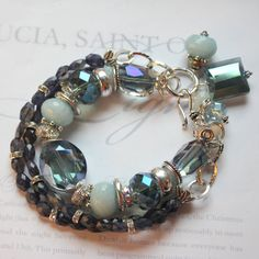 bracelet blue velvet iolite aquamarine triple cuff by molliecarey, $58.39
