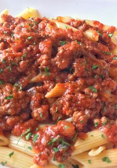 Ragu alla Bolognese is a delicious chunky meat tomato sauce originating from Bologna Italy. Recently my wife and I went to Da Vinci's Ristorante in Greenville, SC for our eleventh anniversary dinner. I had the bolognese sauce on taglietelle pasta, which was absolutely delicious. A few days later I was looking in the old pantry for some dinner ideas and of course found some penne and crushed tomatoes.