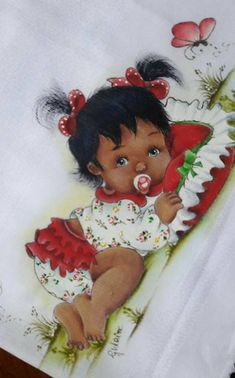 Baby Painting, Fabric Painting, Black Baby Dolls, American Cartoons, Baby Dress Patterns, Baby Shower Princess, African American Art, Baby Art, Art Store