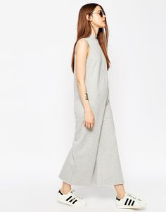 Image 1 of ASOS Jersey Jumpsuit with High Neck in Sweat