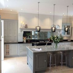 Love this kitchen, especially the mirror. Antique Mirror Splashback in Kitchen Open Plan Kitchen Living Room, Home Decor Kitchen, Country Kitchen, Kitchen Interior, New Kitchen, Awesome Kitchen, Kitchen Dining, Devol Kitchens, Home Kitchens