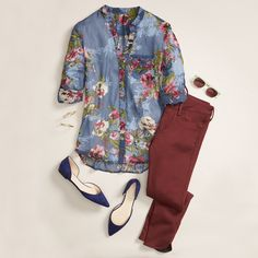 Go casual for girl's night in a moody floral blouse and burgundy jeans.