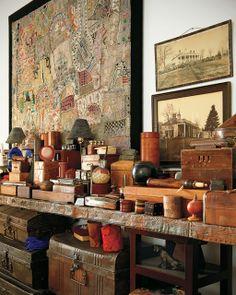 El artista Nick Cave en su cámara de las maravillas | Etxekodeco!!! Bebe'!!! Love these eclectic collections and especially the needlework piece!!!
