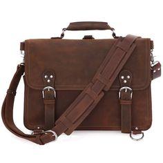 b01363f38e4 Image of Vintage Handmade Crazy Horse Leather Briefcase   Satchel   Laptop  Bag - Backpack