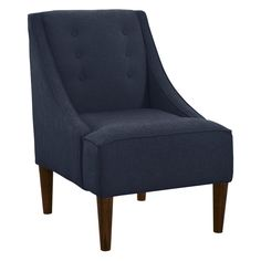 Have to have it. Buttons Swoop Arm Linen Chair - Navy $399.99