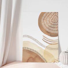 Diy Canvas Art, Canvas Art Prints, Painting Inspiration, Art Inspo, Nursery Decor, Wall Decor, Watercolor Circles, Bedroom Artwork, Sunset Art