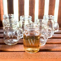 Personalized 4 oz. Mini Drinking Jar Shot Glasses (Set of 6)