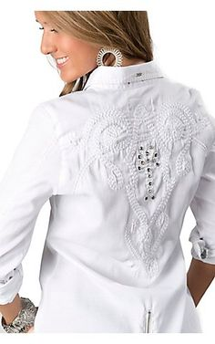 Roar® Women's White Miss Ari with Embroidery and Rhinestones Long Sleeve Western Shirt | Cavender's