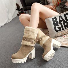 chaussures femme hiver plate,Minetom Femmes Automne Hiver Bottes de ... 2d7955f17ca7