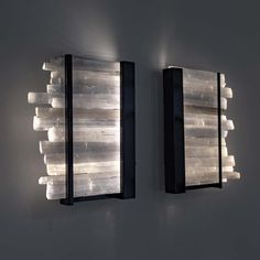 For Sale on - Arctic lighting Selenite crystal wall sconce with metal base Selenite crystals from Morocco Powder-coated metal base These crystals are named after a Greek Crystal Room Decor, Crystal Bedroom, Crystal Wall, Apartment Walls, Apartment Lighting, Cl Design, Reiki Room, Crystal Aesthetic, Crystals In The Home