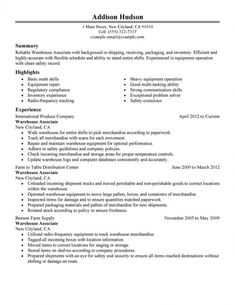 resume template warehouse worker resume objective basic math