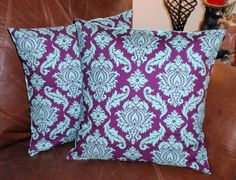 Throw Pillow Covers - 16x16 Set of 2 sewn with Joel Dewberrys Damask Plum - Avairy Collection - Elegant Damask Pillow Cover in Plum & Teal. $26.00, via Etsy.