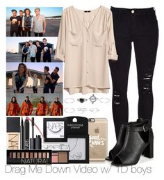 """""""Drag Me Down Video w/ 1D boys"""" by ana-a-m ❤ liked on Polyvore featuring Casetify, Topshop, Wet Seal, Frame Denim, H&M, NARS Cosmetics and Forever 21"""