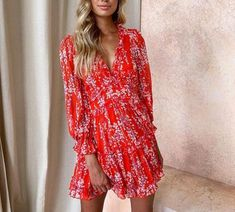 Printed V-neck halter lantern sleeves wooden ear mini dress SKU Material Polyester Occasion Date/Vacation/Daily Life Style Casual Gender Women Product no. Print Chiffon, Chiffon Dress, Mini Dress With Sleeves, Flare Skirt, Wrap Dress, Girl Outfits, Lantern, Womens Fashion, Printed