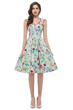 Cotton A-Line Dress Peplum Woman Clothes Vintage Rockabilly Retro Swing 1950s 60s Pinup Housewife Party Dress Robe L007600-3 Alternative Measures