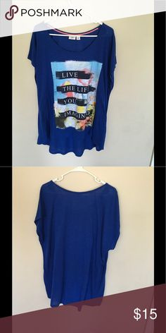 "Adorable and airy plus size tee This shirt is incredibly soft and gorgeous. Blue tee that reads ""live the life you imagined"" size 22/24.  Black jewels on front around saying. Worn once Cato Tops Tees - Short Sleeve"