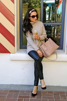 leather | cable knit