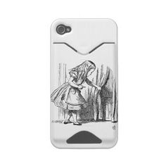 Vintage Alice in Wonderland looking for the door Id Iphone 4 Case by iBella