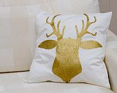 Hand painted deer head silhouette.Pillow made with golden acrylic color and golden glitter dust Beautiful present for everyone!  Made by Slavica Koceva.