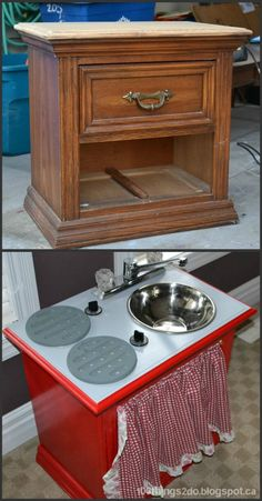Before and After Kitchenette & Workbench Repurposed Furniture Kitchenette workbench Diy Kids Furniture, Refurbished Furniture, Repurposed Furniture, Furniture Projects, Furniture Makeover, Painted Furniture, Home Furniture, Furniture Making, Luxury Furniture