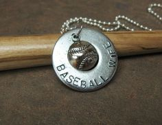 "Baseball Wife. This 1 1/4"" washer comes on a 32"" silver ball chain.  Check out Washer Words on facebook for my other items.  $10.00"