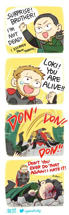 Don't do that again || Avengers Infinity War || Thor & Loki || Cr: 澈(Che)  Aww poor Loki.. He's the god of mischief after all