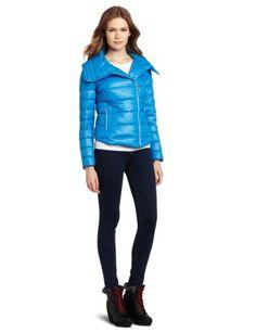 Bcbgeneration Women's Packable Envelope Collar Puffer, Blue, Medium