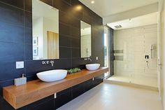 plan de travail salle de bain en bois de design moderne pour 2 vasques à poser ovales