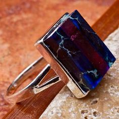 Awesome Sterling Silver Multi Color Sea Sediment Gemstone Ring Size 6 1/2 #9667