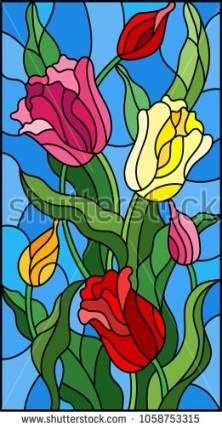 Illustration in stained glass style with a bouquet of colorful tulips on a blue background Stained Glass Paint, Stained Glass Flowers, Stained Glass Designs, Stained Glass Projects, Stained Glass Patterns, Glass Painting Patterns, Glass Painting Designs, Glas Art, Illustration Blume