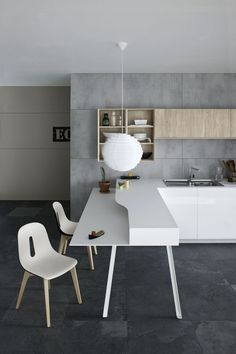 #Kitchen with peninsula without handles MILA 02 by Cesar Arredamenti | #design Gian Vittorio Plazzogna