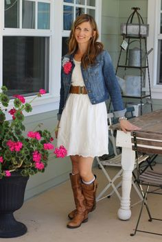 Cute outfit- denim jacket, boots and dress