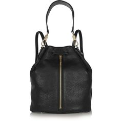 Elizabeth and James Sling textured-leather backpack ($450) ❤ liked on Polyvore featuring bags, backpacks, black, black sling backpack, black rucksack, drawstring backpack, backpack bag and slim backpack