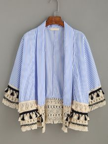 Blue Vertical Striped Tassel Crochet Trim Kimono