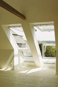 VELUX CABRIO Balcony System - Enjoy a Juliet balcony in your roof loft conversion- lighting … Attic Loft, Loft Room, Bedroom Loft, Attic Stairs, Attic Office, Upstairs Loft, Attic House, Attic Playroom, Bedroom Windows