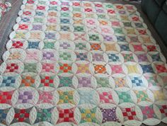 1930's Multicolor Stained Glass Quilt