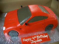 Red sports car cake