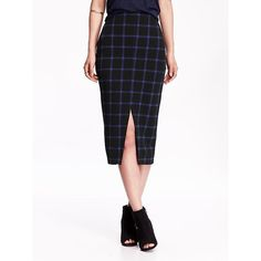 Old Navy Womens Plaid Midi Pencil Skirts ($33) ❤ liked on Polyvore