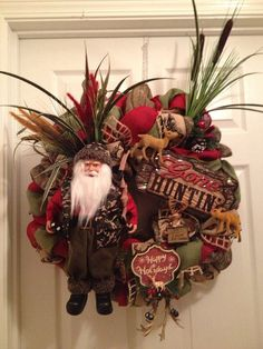 Camo and Burlap Santa Hunting Wreath by LAMADISONBOUTIQUE on Etsy, $80.00