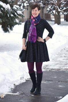 Already Pretty outfit featuring black polka dot dress, Desigual scarf, purple tights, ECCO Sculptured 65 boots, Rebecca Minkoff Logan crossb...