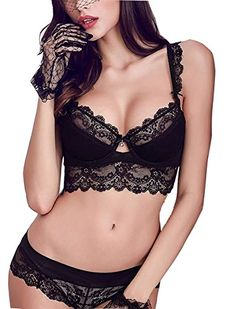 11fe30c8af8a0 Purplegrape Womens Sexy Embroidery Lace Plunge Push Up Bra Set Underwear  and Panties Set Nice Lingerie