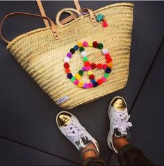 Manouc Basket Peace <3  http://www.manouc.com/collections/ibizakorbe-in-natur-mit-bunten-zeichen/products/ibizakorb-peace-pompons