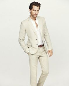Men's Fashion: Light Khaki Suit Jacket & Pants with White Shirt & Brown Belt.