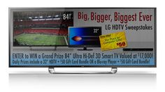 You should enter Big TV Sweepstakes. There are great prizes and I think one of us could win!  Very Pinteresting!  I would soooooooooo LOVE to win this! :o)